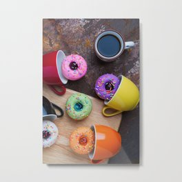 Fancy donuts with black coffee Metal Print