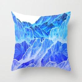 The cold mountain sea Throw Pillow
