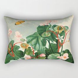 Pink Floral The Oblique-Leaved Begonias : Temple of Flora Rectangular Pillow
