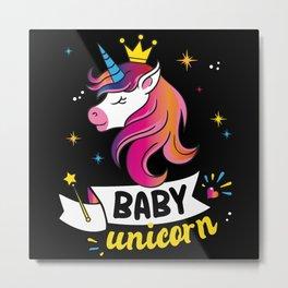 Cute Unicorn Rainbow Princess Gift Metal Print