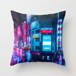 Post Apocalyptic Neon City Blues  - Tokyo Throw Pillow
