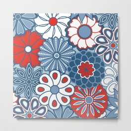 Cute Mid Century Modern Flowers - Red, White and Blue Metal Print