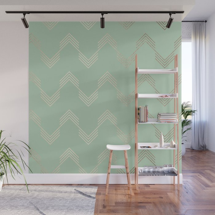 Simply Deconstructed Chevron in White Gold Sands and Pastel Cactus Green Wall Mural