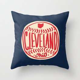Hand Drawn Baseball for Cleveland Ohio with custom Lettering Throw Pillow