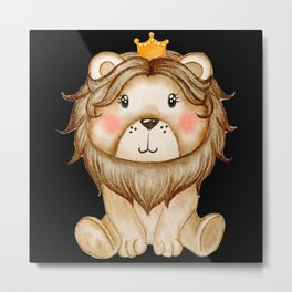 Amazing Cute Lion Watercolor Design Metal Print