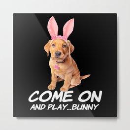 Come On And Play Bunny Dog Rabbit Metal Print