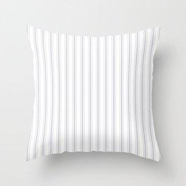 Soft Grey Mattress Ticking Wide Striped Pattern - Fall Fashion 2018 Throw Pillow
