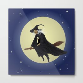 Old witch and hers black cat flying on a broom. Halloween illustration. Metal Print