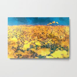 Impressions of Summer, Golden Field of Wildflowers Metal Print