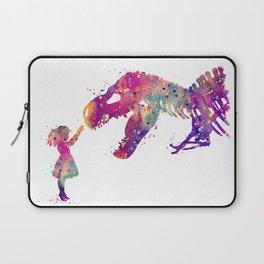 Girl and Dinosaur T-Rex Art Animals Nursery Decor Kids Room Watercolor Print Purple Home Decor Laptop Sleeve