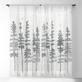 Nighttime Watercolor Forest Sheer Curtain