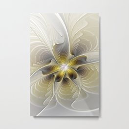 Gold And Silver, Abstract Flower Fractal Metal Print