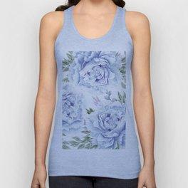 Pretty Indigo Blue Roses Garden Unisex Tank Top
