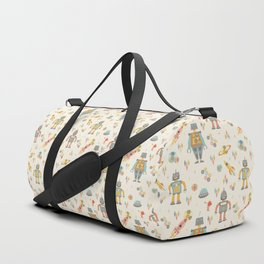 Vintage Inspired Robots in Space Duffle Bag