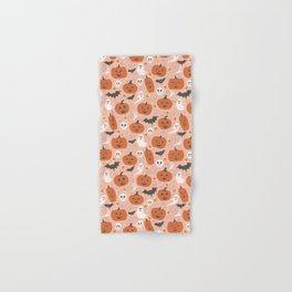 Pumpkin Party on Blush Pink Hand & Bath Towel