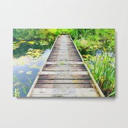 Pier through waterlilies watercolor painting Metal Print
