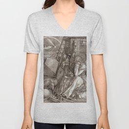 """Albrecht Dürer """"Melancholia I"""" Unisex V-Neck"""