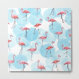 Watercolor Flamingo Blue Polka Dot Flamongos Metal Print