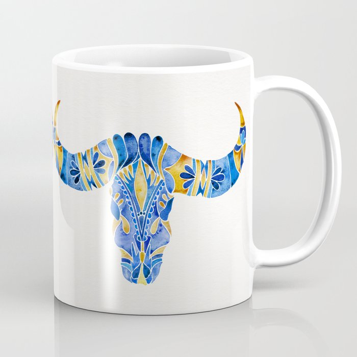 Water Buffalo Skull – Navy & Yellow Coffee Mug