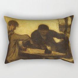 "Honoré Daumier ""The Drinkers"" Rectangular Pillow"