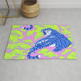 Neon Tigers and Water Lillies. Rug
