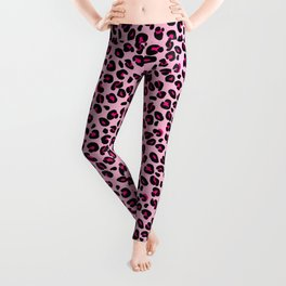 Cotton Candy Pink and Black Leopard Spots Animal Print Pattern Leggings