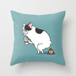 Coffee makes French Bulldog poop Throw Pillow