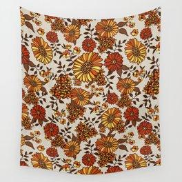 Retro 70s boho hippie orange flower power Wall Tapestry