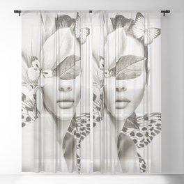 PORTRAIT /Woman with flower and butterflies Sheer Curtain