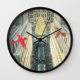 Red and Lulu and the Rockefeller Center Christmas Tree Wall Clock