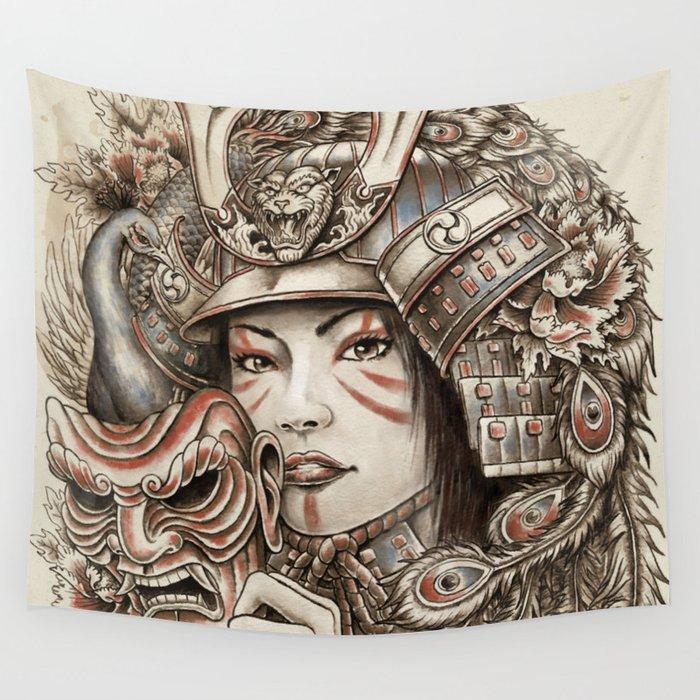 Peacock Samurai Wall Tapestry