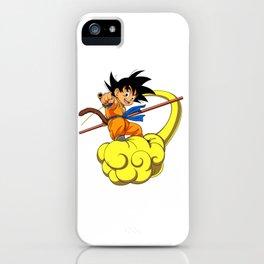 Kid Goku On magic cloud iPhone Case