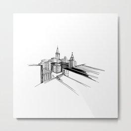 Vibrant City White Background Metal Print