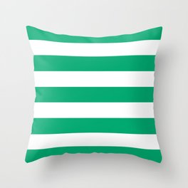 Sesame Street Green - solid color - white stripes pattern Throw Pillow