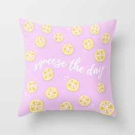 Squeeze The Day   Lemons Throw Pillow