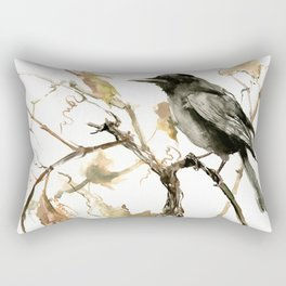 Crow in the Fall, Tribal Crow Raven art Rectangular Pillow