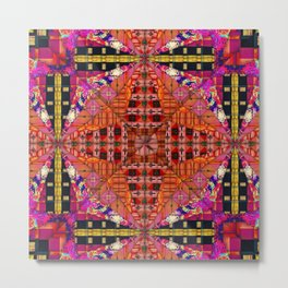 no. 250 black and white, pink ,orange, red ,with yellow  pattern Metal Print