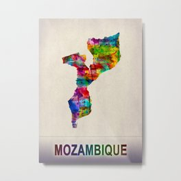 Mozambique Map in Watercolor Metal Print