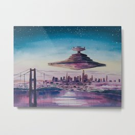 Destroyer Over Down Town Metal Print