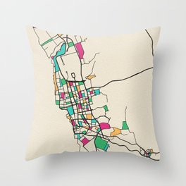 Colorful City Maps: Jeddah, Saudi Arabia Throw Pillow
