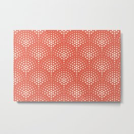 Pantone Living Coral with Cream Polka Dot Scallop Pattern Metal Print