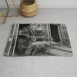 Old steam locomotive in the depot ZUG008CBx Le France black and white fine art photography by Ksavera Rug