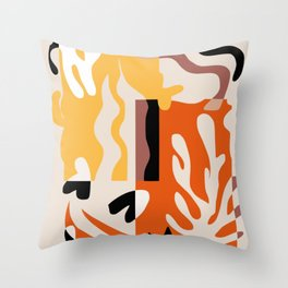 Seaweed abstract orange and yellow Throw Pillow
