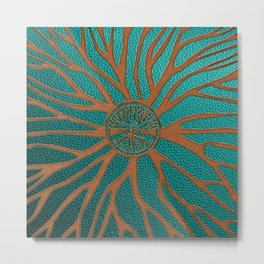 Tree of life  -Yggdrasil  - Embossed Faux Teal & Brown Leather Metal Print