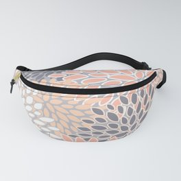 Flowers Abstract Print, Coral, Peach, Gray Fanny Pack