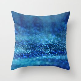 Aqua Glitter effect- Sparkling print in classic blue Throw Pillow