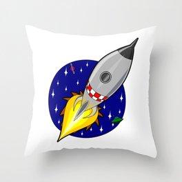 Rocket ship launch vehicle moon Throw Pillow