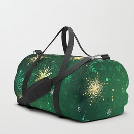 Gold Snowflakes on a Green Background Duffle Bag