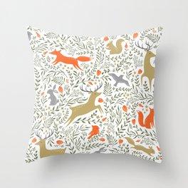 Woodland Animals Folk Throw Pillow