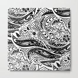 Polynesian Tribal Black And White Metal Print